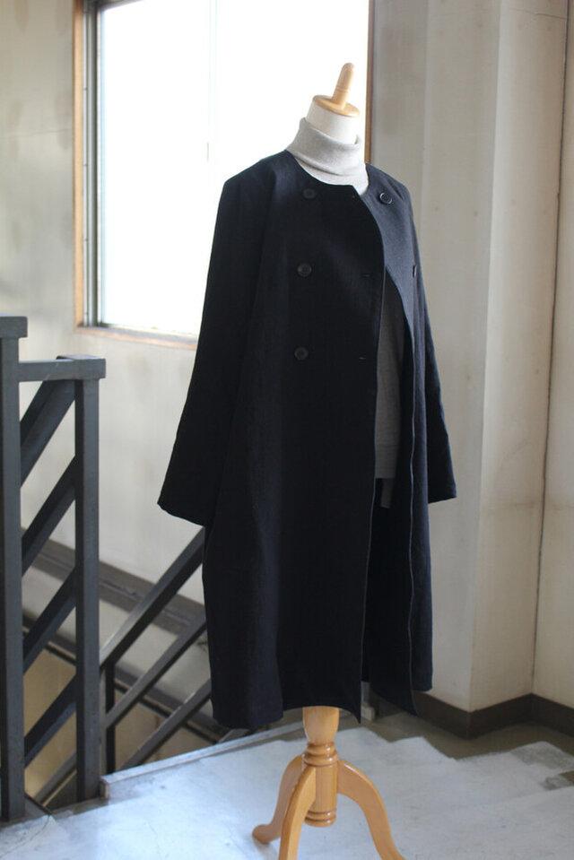 【秋冬NEW】ベルギーリネン25番手厚手リネンコート の画像1枚目