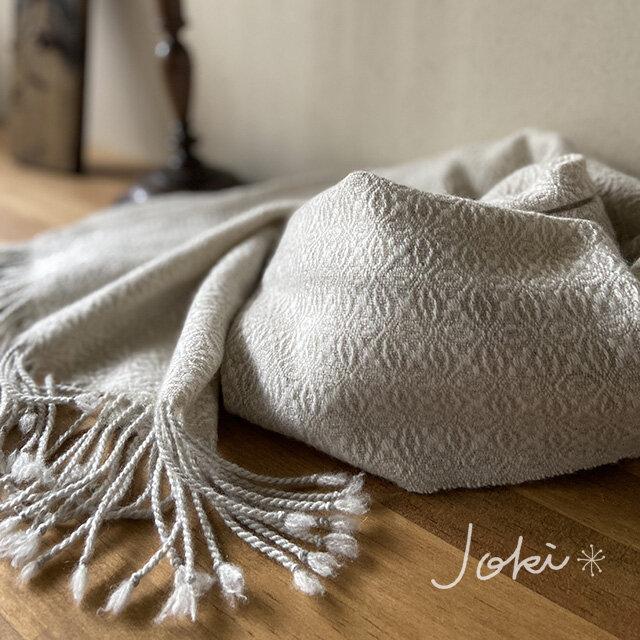 手織りオーバーショットカシミヤショール クラッシックホワイトの画像1枚目
