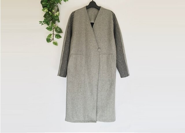 ★冬新作★ウール混袖配色仕様ゆったり着られるシンプルなポケット付きロングコート♪の画像1枚目