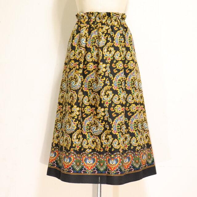 ウールのエスニックゴムスカート 黒 黄 Fサイズの画像1枚目