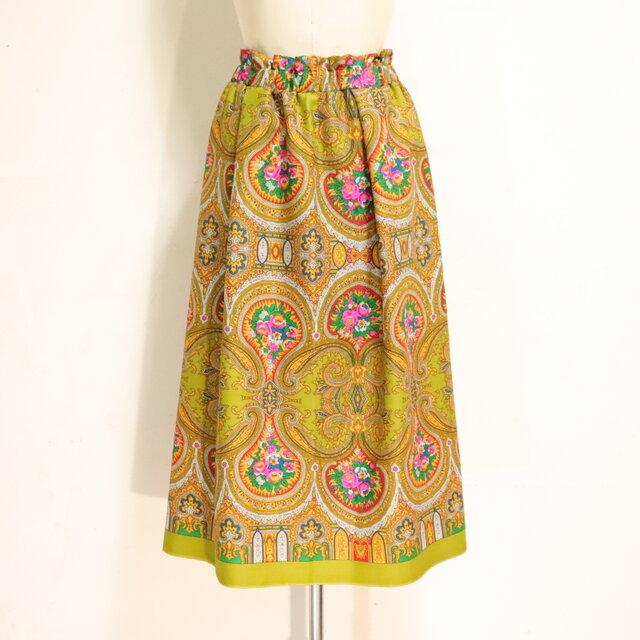ウールのエスニックゴムスカート ウグイス 黄 Fサイズの画像1枚目