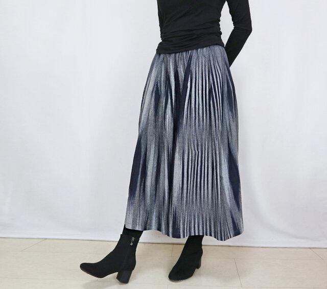 再販☆手織り綿絣ロングスカート、インディゴXグレー柄、オールシーズンの画像1枚目