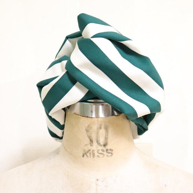 緑白ストライプのヘアターバンの画像1枚目