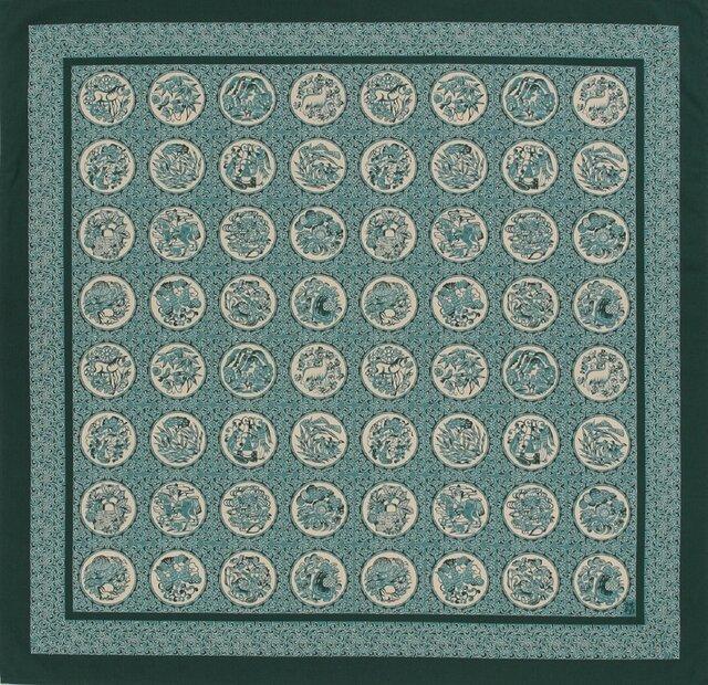 風呂敷 ふろしき    芹沢銈介 伊曽保文 グリーン 綿100% 130cm×130cmの画像1枚目