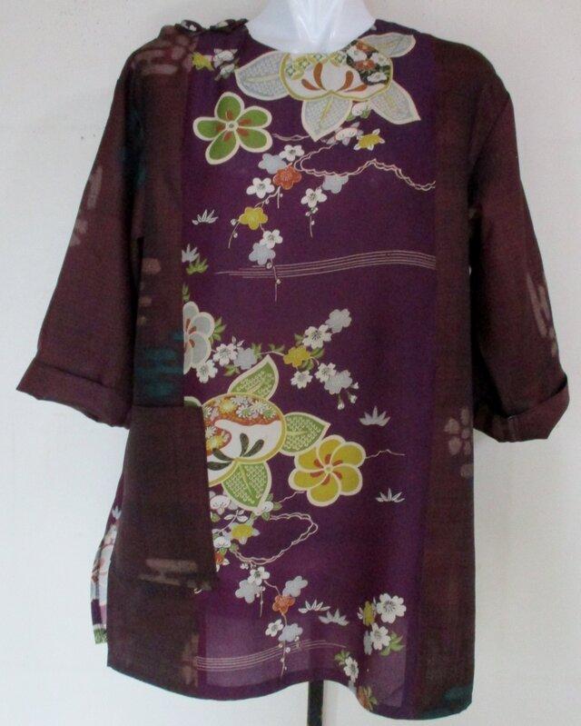 5237 花柄の着物で作ったプルオーバー #送料無料の画像1枚目