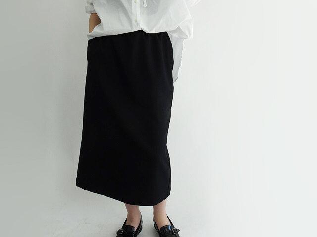 シワになりずらいウール見えロングゆるタイトスカート<ブラック>の画像1枚目