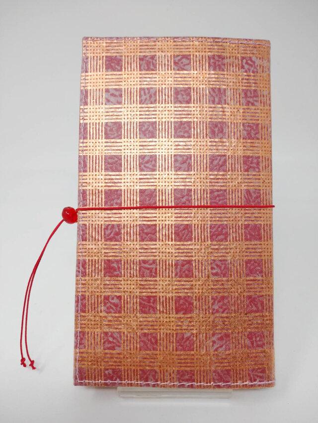 ギルディング和紙ケース(ストラップ付) 格子 赤地 銅箔の画像1枚目