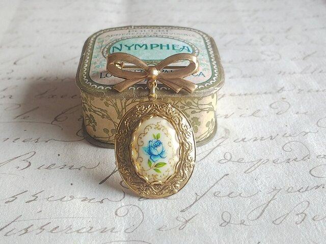 ヴィンテージ Blue薔薇 GoldLace / Ribbon ブローチの画像1枚目