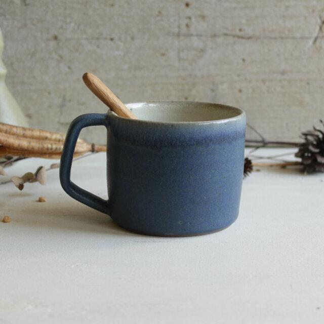 マグカップ 筒形  取手台形 碧+白 陶器の画像1枚目