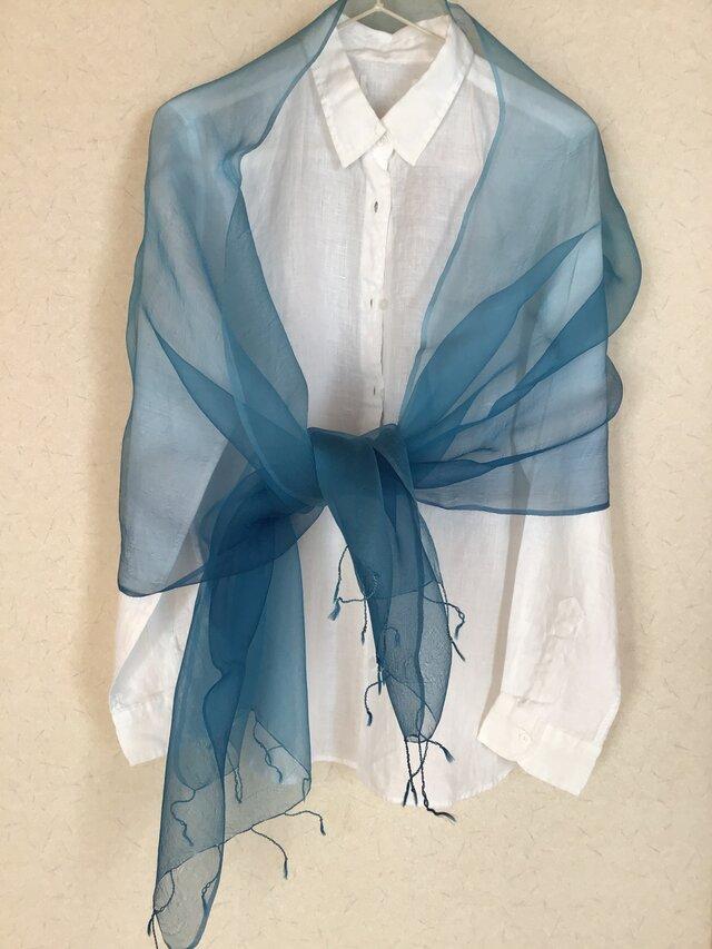 草木染め シルクオーガンジーストール 藍の画像1枚目