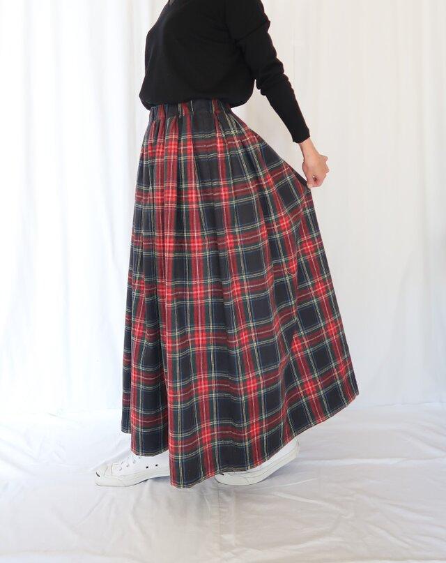 タータンチェック・イレギュラータックギャザースカート♡C&S起毛コットン♪ブラックスチュアートの画像1枚目