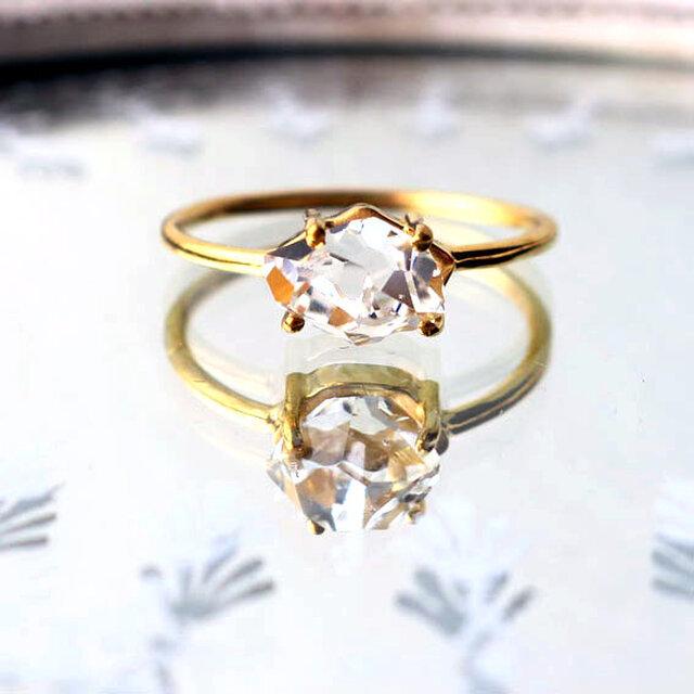 ハーキマーダイヤモンドSVK18GPリング-bの画像1枚目