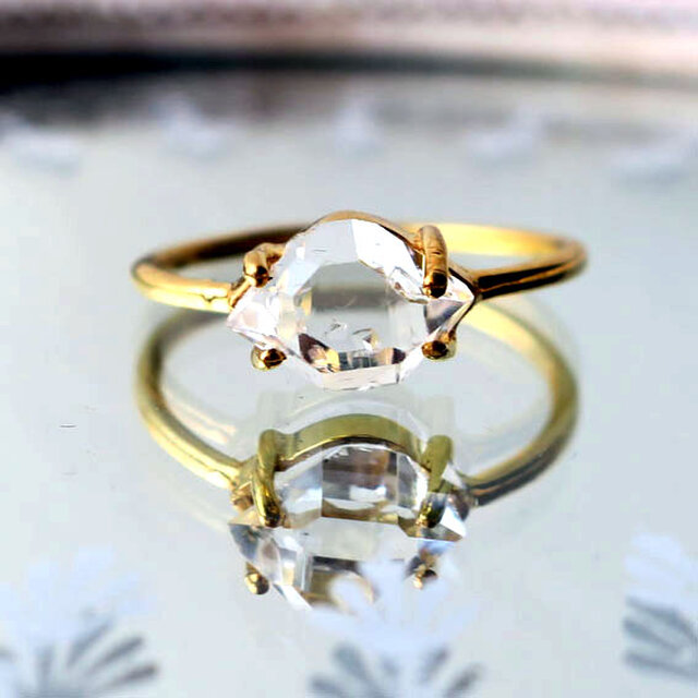 ハーキマーダイヤモンドSVK18GPリング-cの画像1枚目