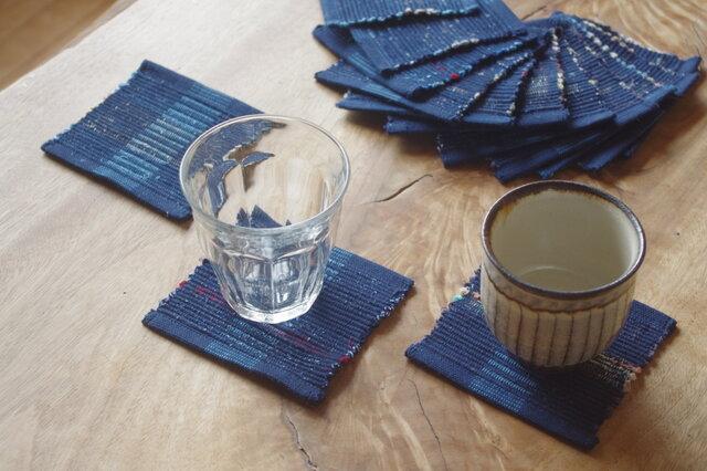 紺色しましま・かわいいサイズの裂き織りコースター3枚セット(特価品です) 木綿・手織りの画像1枚目