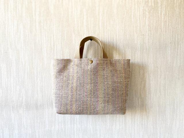 裂き織りのバッグ Mサイズ サンドベージュの画像1枚目