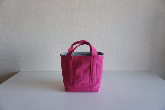 TOTE BAG -bicolor- (S) / pink × pearlgrayの画像1枚目