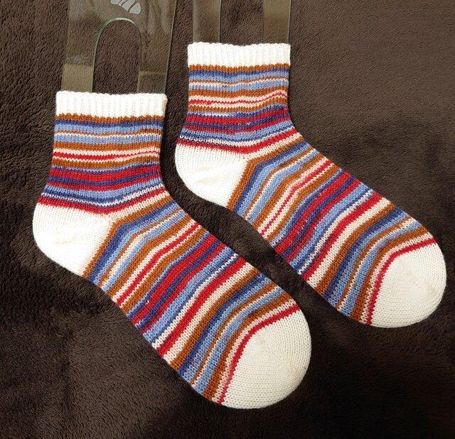 手編み靴下 カメレオンカメラ ベーシックボーダーの画像1枚目
