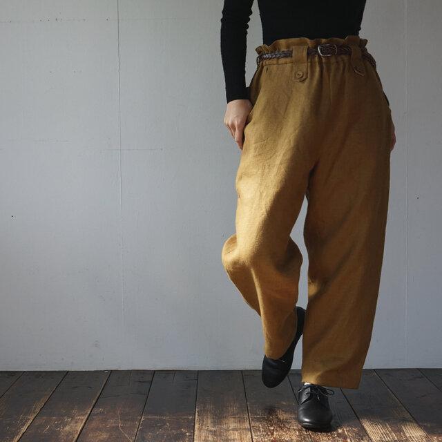 atelier pants[フランネルリネン][mustard]の画像1枚目