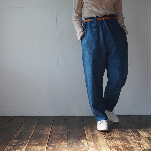 atelier pants[フランネルリネン][antique blue]の画像1枚目