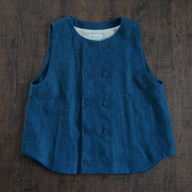 atelier vest[フランネルリネン][antique blue]の画像1枚目