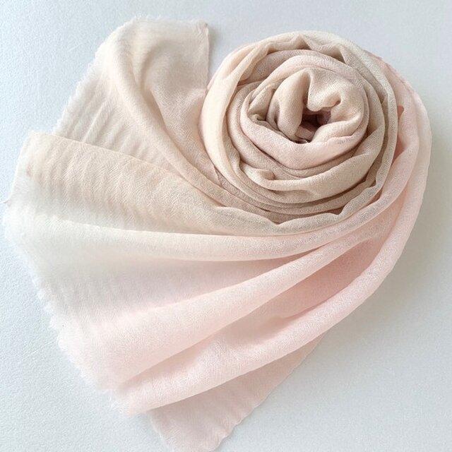 凸凹ここちよいウール*薄桜色×伽羅色*ストールの画像1枚目