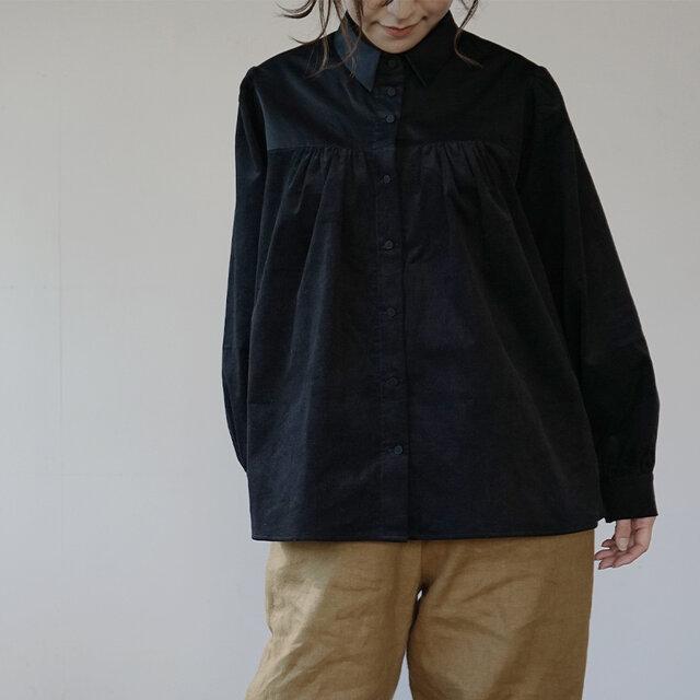 peasant shirts[マイクロコーデュロイ×コットンワッシャー][black]の画像1枚目