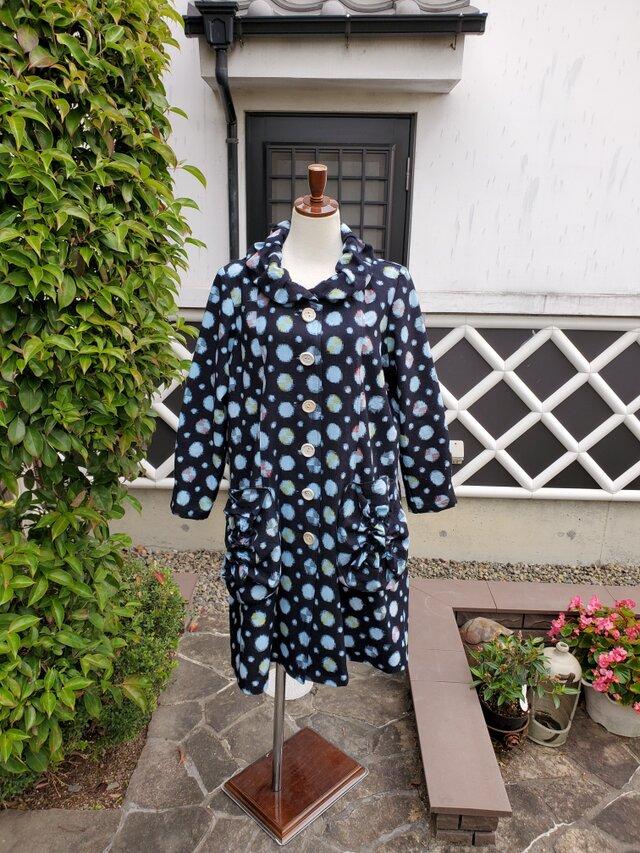 着物リメイク 手作り 可愛い柄 かすり コートの画像1枚目