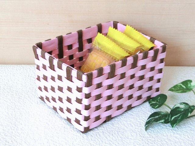クラフトカゴ 人気の和柄模様 ピンク色×茶色 小物収納の画像1枚目