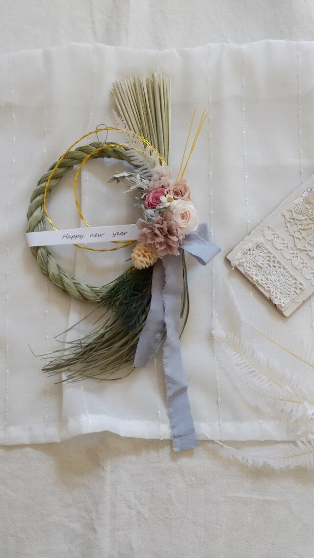 3種のバラのしめ縄wreath(リース プリザーブドフラワー ドライフラワー アンティーク)の画像1枚目