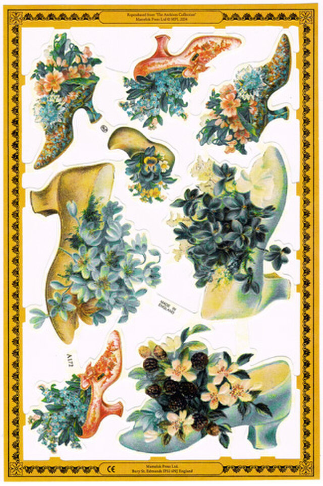 イギリス製クロモス 靴と花々 ラメなし DA-CHE018の画像1枚目