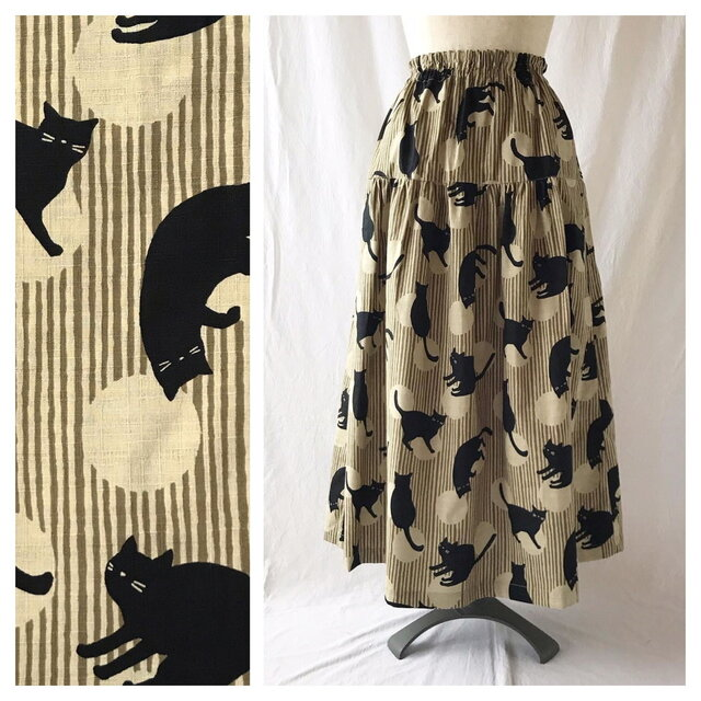 【和柄】はんなりとシックなティアードスカート(よろけ縞に猫:ベージュ)の画像1枚目
