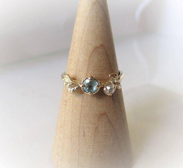 グランディディエライトとローズカットダイヤの指輪(K10)の画像1枚目
