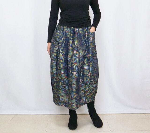 きものリメイクのロングスカート、バルーンスカート、銘仙、御所車柄の画像1枚目
