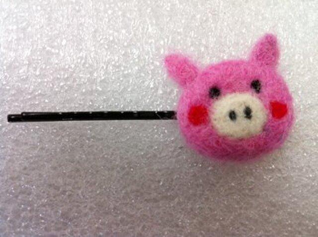 ピンクぶたさんヘアピンの画像1枚目