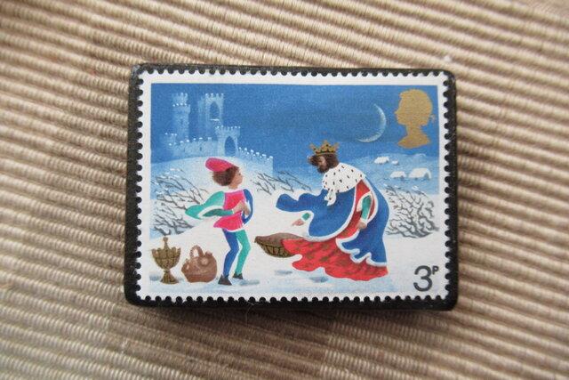 イギリス クリスマス切手ブローチ 6791の画像1枚目