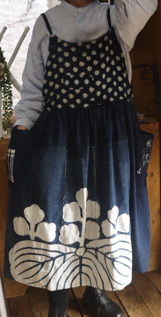 古布家紋サロペットジャンバースカートの画像1枚目
