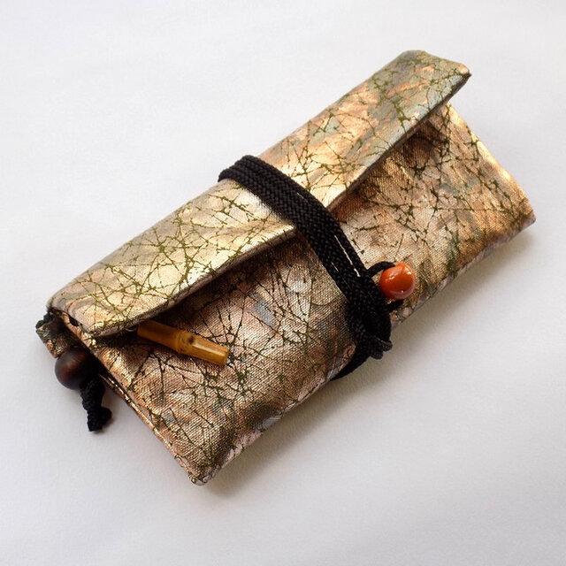 道中財布 ロールバッグ コットン紬風グリーン色地製 虹彩箔 真綿箔の画像1枚目
