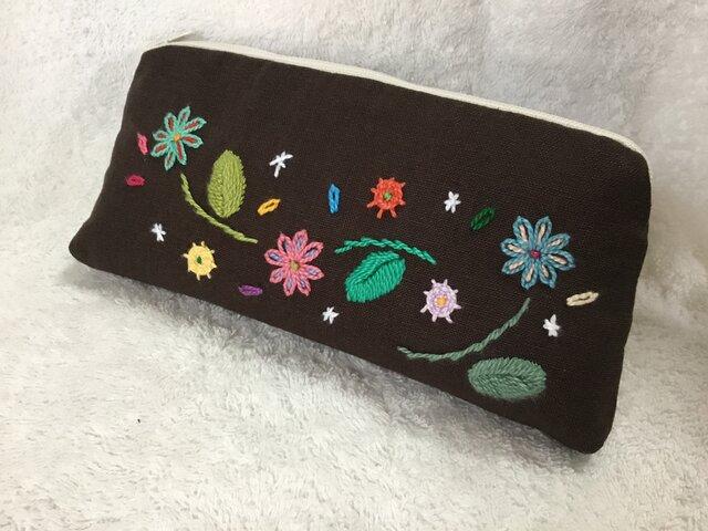 刺繍のメガネケース・チョコブラウンの画像1枚目