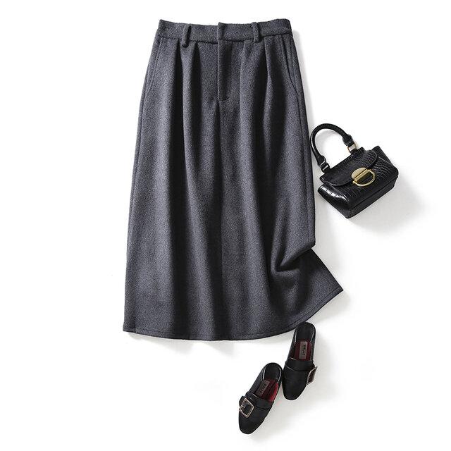 あたたかく、柔らかく質感のウールスカート 冬スカート マキシ丈スカート ダークグレー 201106-2の画像1枚目