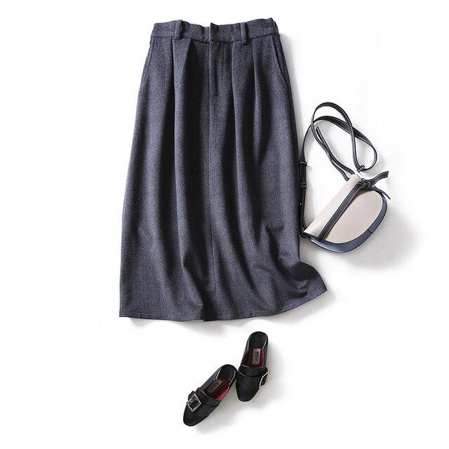 あたたかく、柔らかく質感のウールスカート 冬スカート マキシ丈スカート グレーチェック 201106-3の画像1枚目