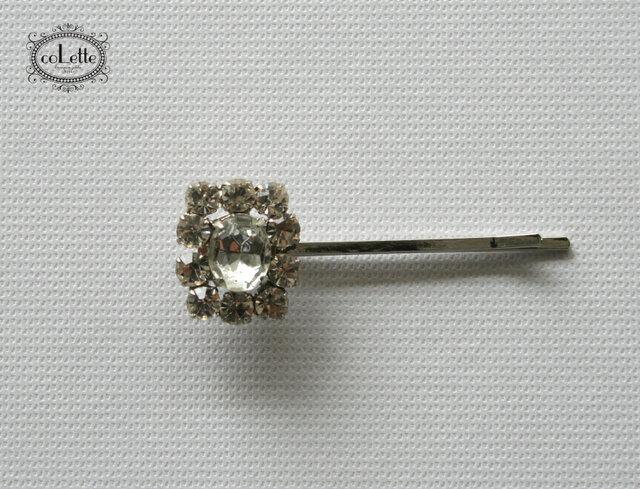 チェコデットストックボタンヘアピン/ビジューキラキラ(ABP-005)の画像1枚目