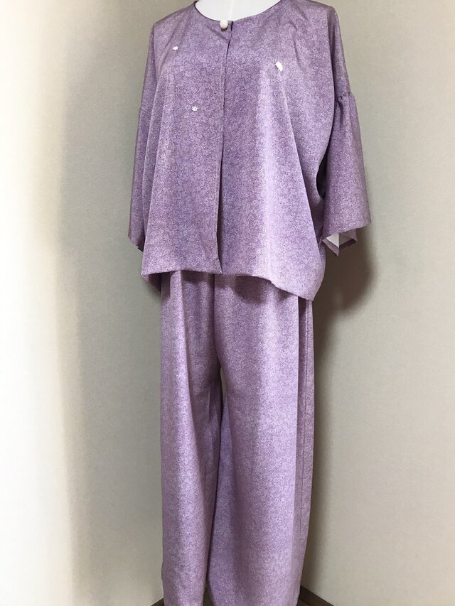☆江戸小紋・双葉葵柄のセットアップ  ワイドパンツスーツ 薄紫☆の画像1枚目