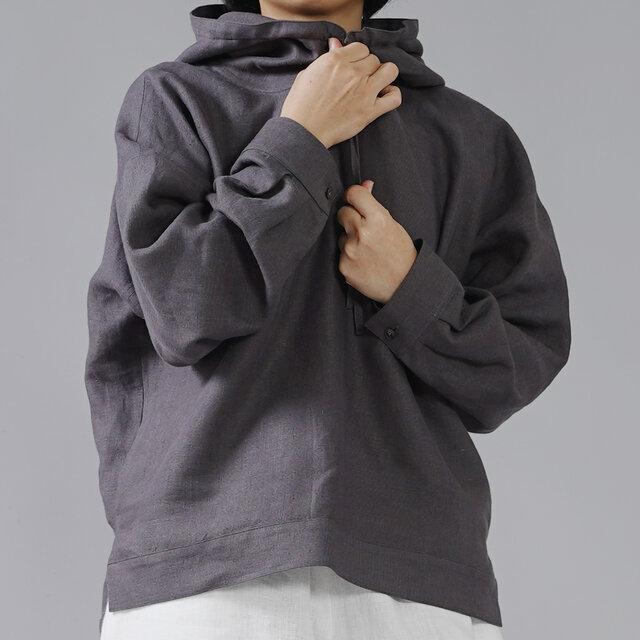 【wafu】中厚 リネン100% パーカー ドロップショルダー プルオーバー/黒橡(くろつるばみ) t047a-ktb2の画像1枚目