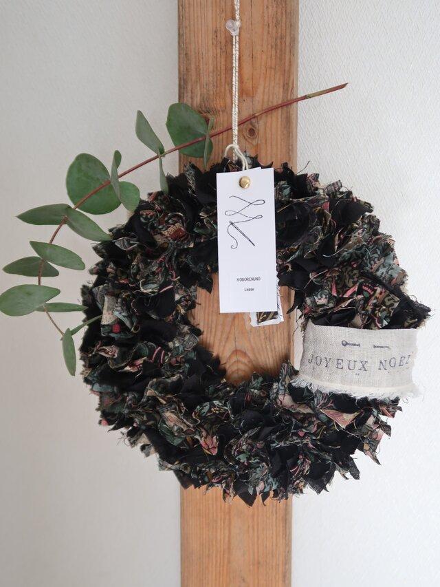 KOBORENUNO LEACE ウィリアムモリス×リネン♡クリスマスを迎える♪リース♡ダマスクブラックの画像1枚目