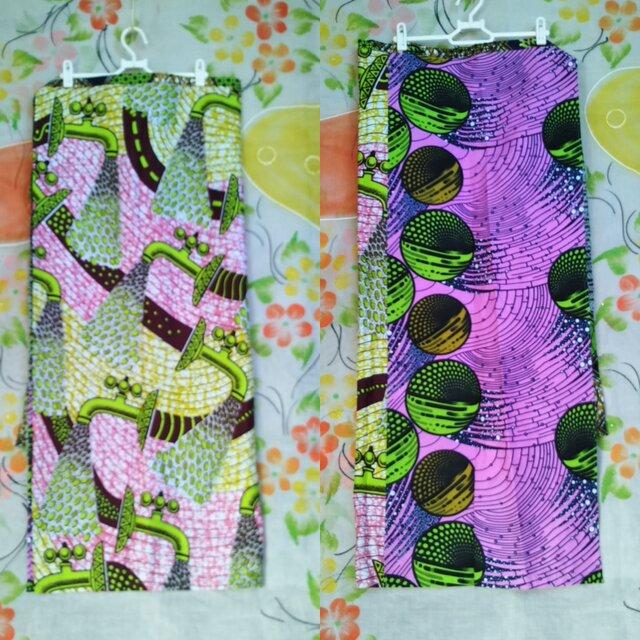 アフリカ布組み合わせるスカートの画像1枚目