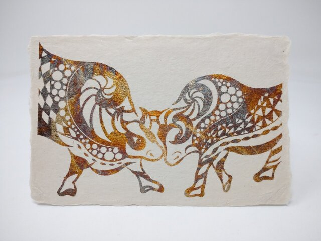 ギルディング和紙葉書 闘牛 黄混合箔の画像1枚目
