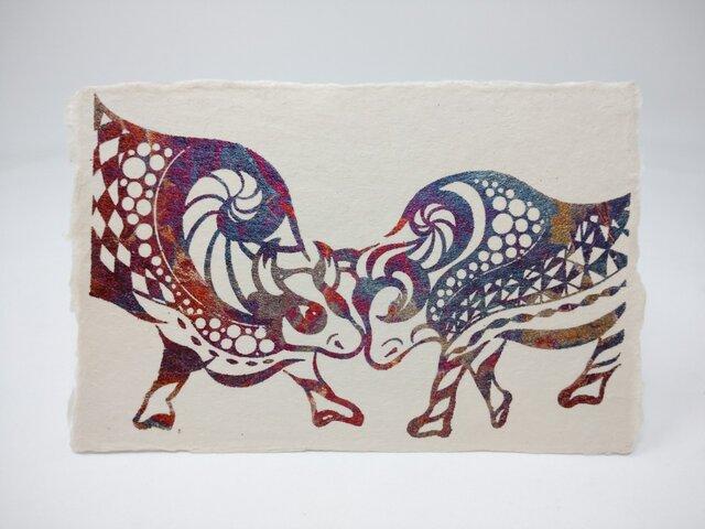 ギルディング和紙葉書 闘牛 赤混合箔の画像1枚目