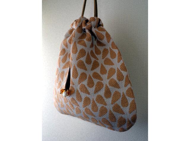 フランス製織生地の巾着バッグ sdeco gou bbvbの画像1枚目