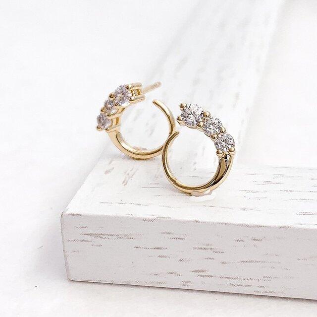 Moon cz pierce/earringの画像1枚目