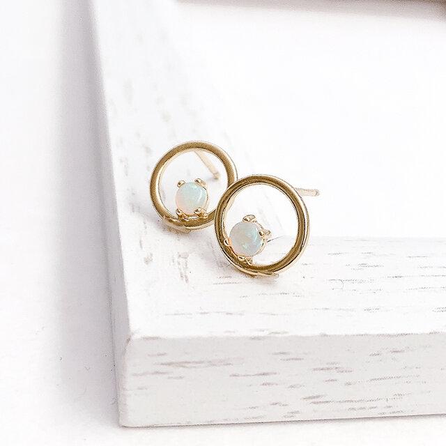 Opal circle pierce/earringの画像1枚目